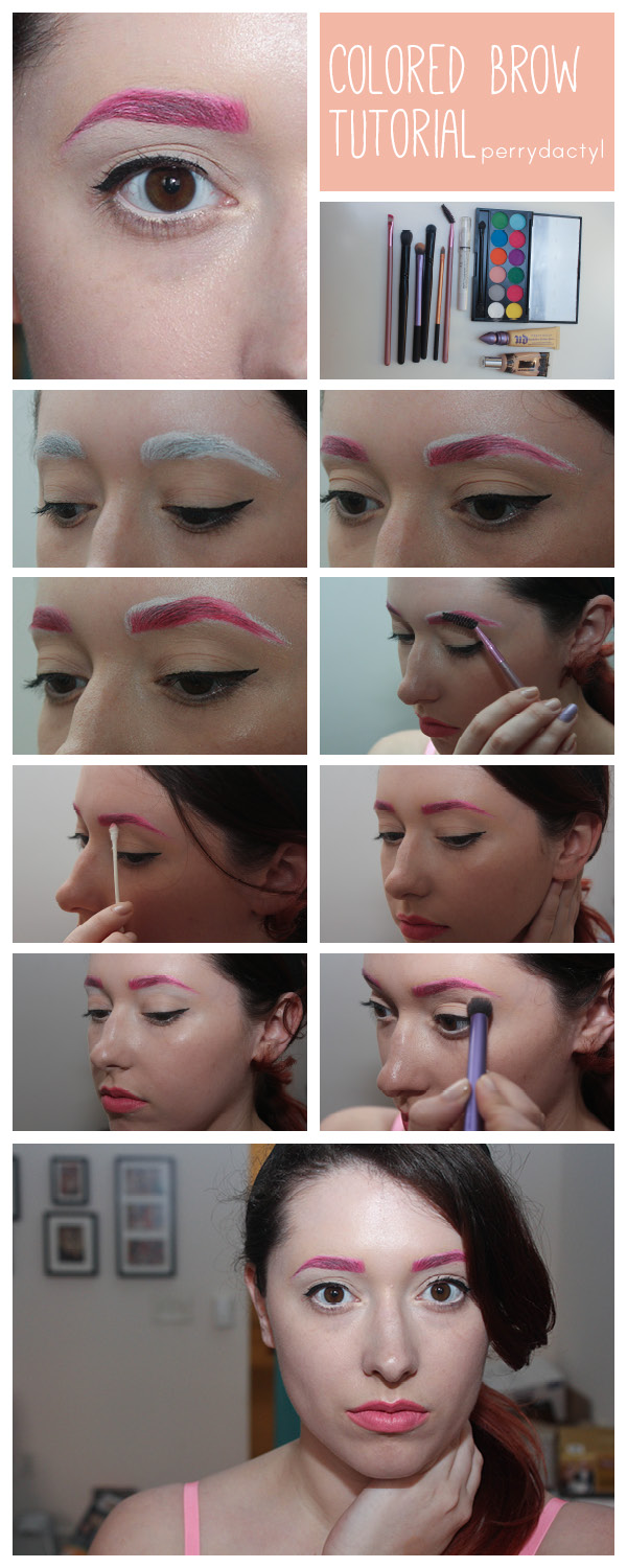 summer, colored, brow, tutorial